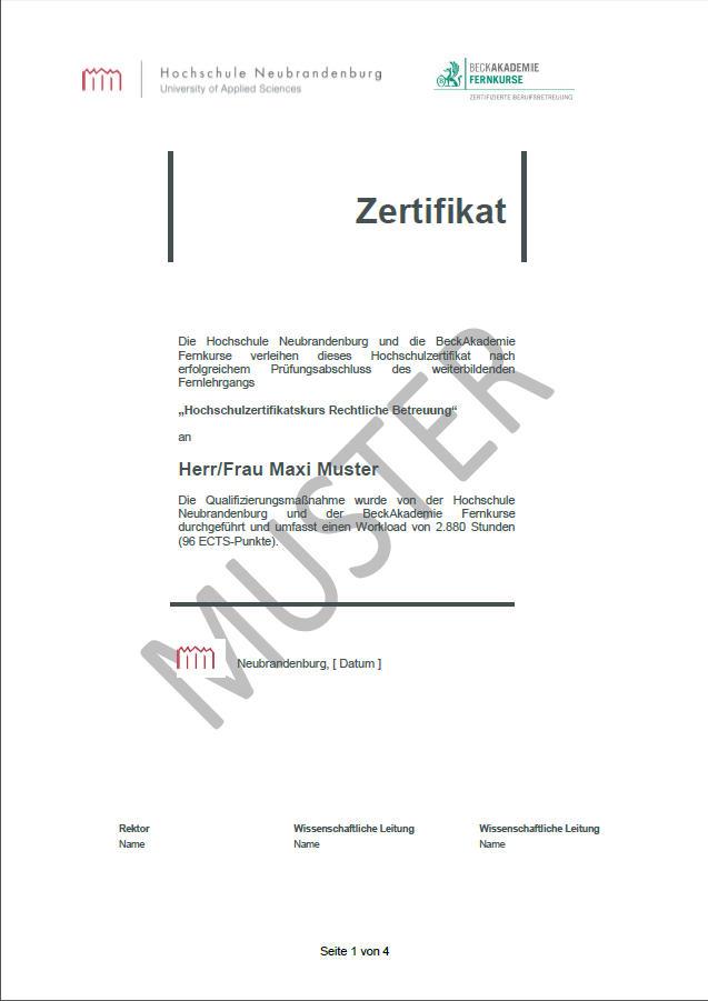 muster hochschulzertifikat - Bewerbung Betreuer Muster