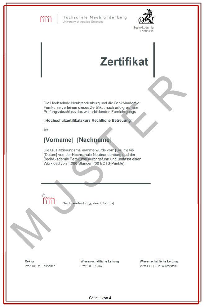 Hochschulzertifikat_Hochschule Neubrandenburg_Pruefungsurkunde_Seite_1